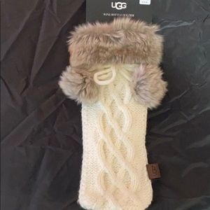 UGG knitted Pom Pom fur trim Wine bottle holder